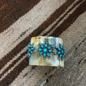 Jewelry - Real turquoise cow horn cuff
